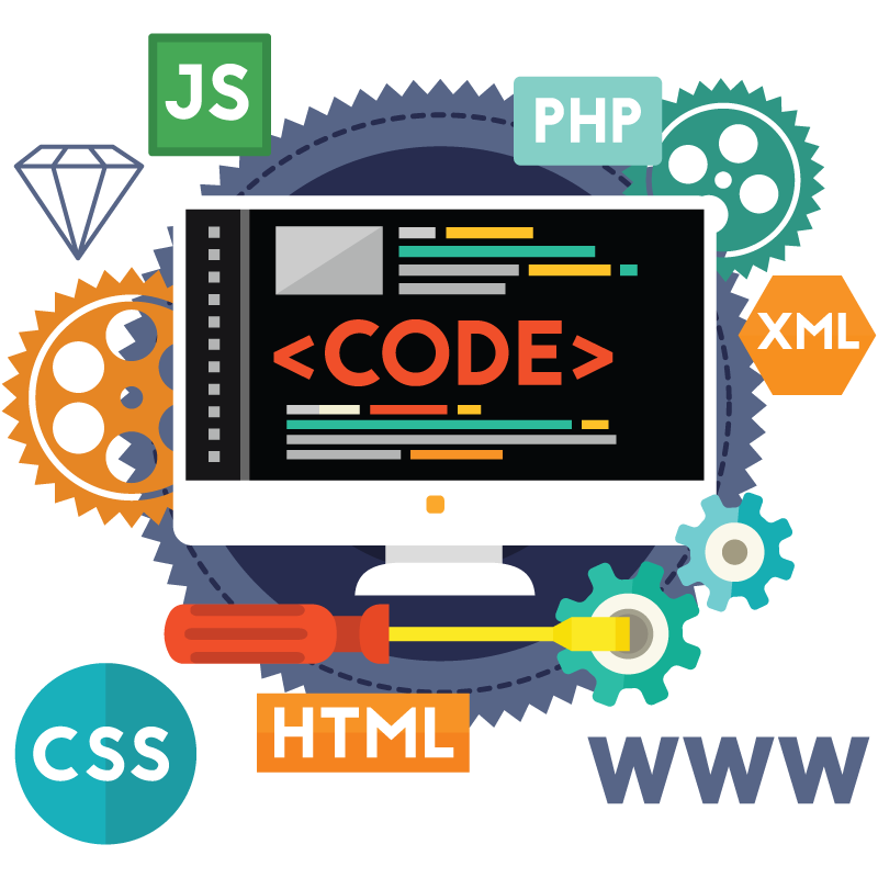 Web development infographic showing web technologies
